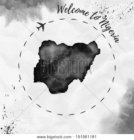 Nigeria Watercolor Map In Black Colors. Welcome To Nigeria Poster With Airplane Trace And Handpainte