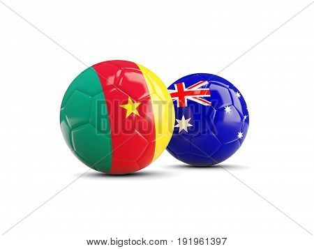 Two Footballs With Flags Of Cameroon And Australia Isolated On White