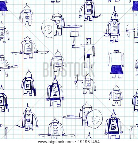Hero Seamless Pattern. Admirable Child's Drawing With School Pen. Cute Hero Hand Drawn With Black In