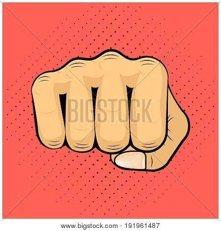 Hit Shock Blow Strike Punch Fist Icon Concept Symbol Cartoon Popart Design Vector Illustration