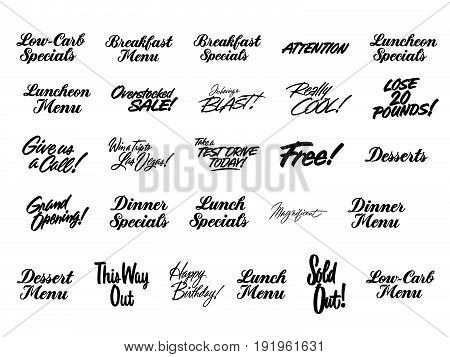 various advertising sign and lettering promotion concept paint brush typography collection