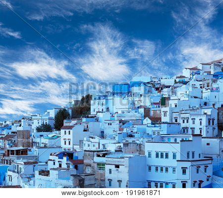 Panorama of Chefchaouen blue medina in Rif mountains, Morocco, North Africa poster