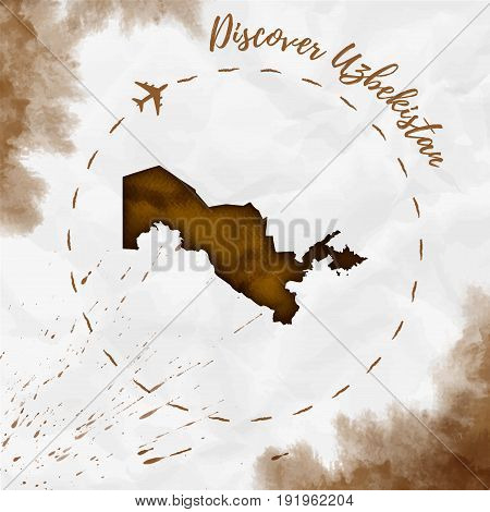 Uzbekistan Watercolor Map In Sepia Colors. Discover Uzbekistan Poster With Airplane Trace And Handpa