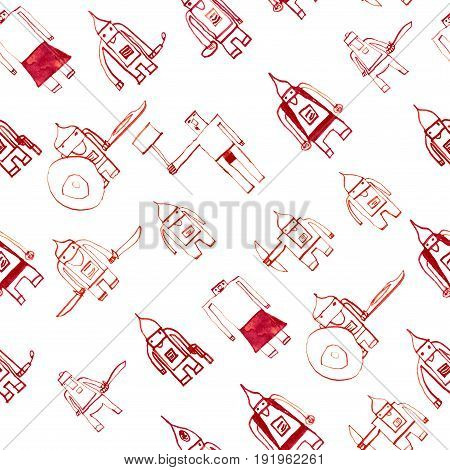 Hero Seamless Pattern. Bewitching Child's Drawing With School Pen. Cute Hero Hand Drawn With Red Ink