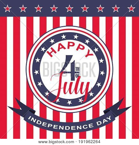 Happy 4th of July background. USA Independence Day. Vector illustration.