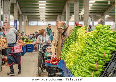 Eskisehir, Turkey - June 15, 2017: People At Traditional Typical Turkish Grocery Bazaar In Eskisehir