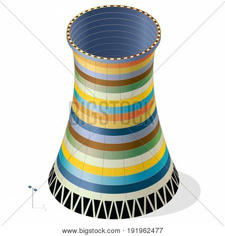 Vector funny, colorful, striped, cooling tower of nuclear power plant. Colored concrete thermal power plant tower in isometric perspective. Industrial architecture, witty power station tower building.