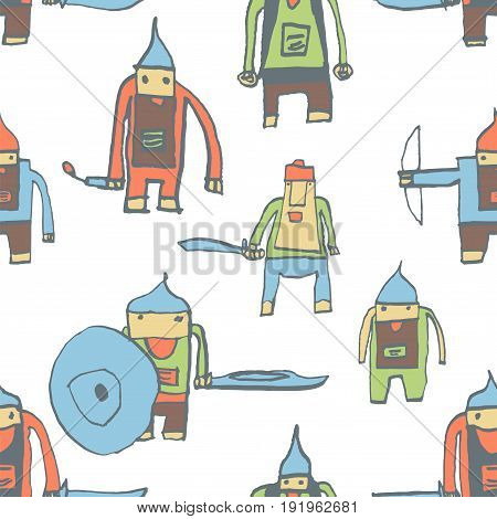 Hero Seamless Pattern. Delicate Child's Drawing With School Pen. Cute Hero Hand Drawn With Color On