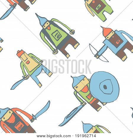 Hero Seamless Pattern. Exquisite Child's Drawing With School Pen. Cute Hero Hand Drawn With Color On