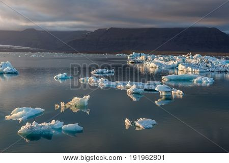 Beautiful Icebergs In Jokulsarlon Glacier Lagoon. Base Of The Vatnajokull Glacier At Jokulsarlon, Ic