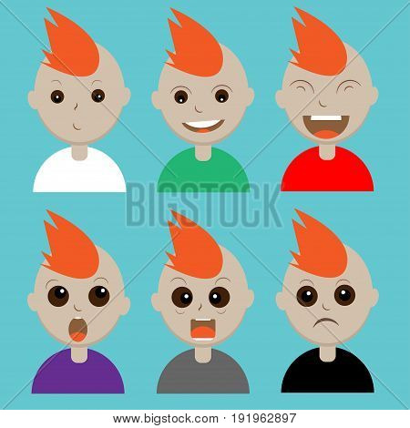 Emotions face of cute boy concept,Vector illustration