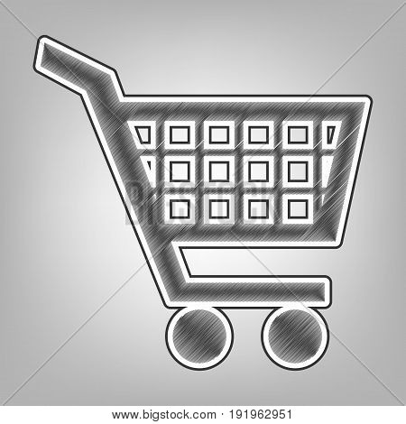 Shopping cart sign. Vector. Pencil sketch imitation. Dark gray scribble icon with dark gray outer contour at gray background.