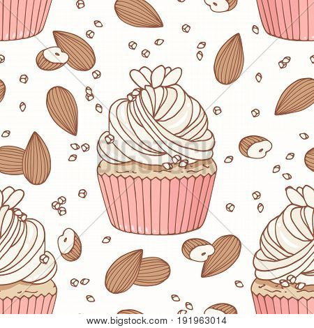 Hand drawn seamless pattern with doodle cupcake, almond and buttercream. Food background. Vector illustration