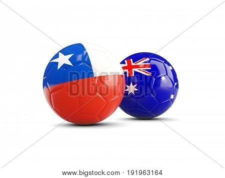 Two Footballs With Flags Of Chile And Australia Isolated On White