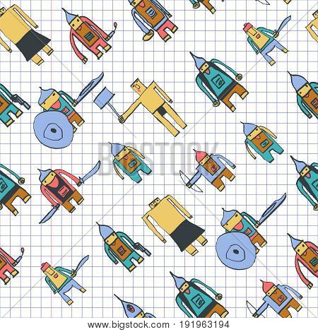 Hero Seamless Pattern. Bizarre Child's Drawing With School Pen. Cute Hero Hand Drawn With Colorful O
