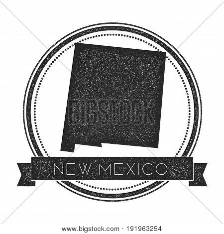 New Mexico Vector Map Stamp. Retro Distressed Insignia With Us State Map. Hipster Round Rubber Stamp