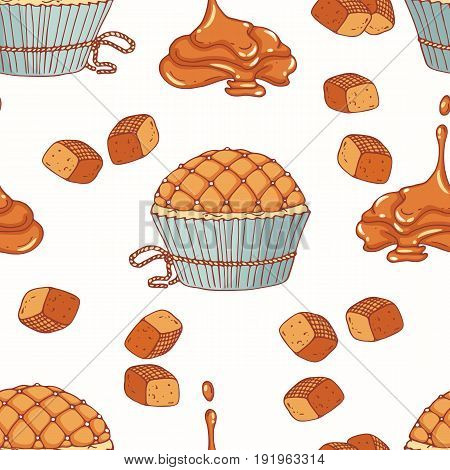 Hand drawn seamless pattern with doodle cupcake and caramel buttercream. Food background. Vector illustration
