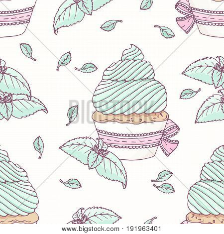 Hand drawn seamless pattern with doodle cupcake and mint buttercream. Food background