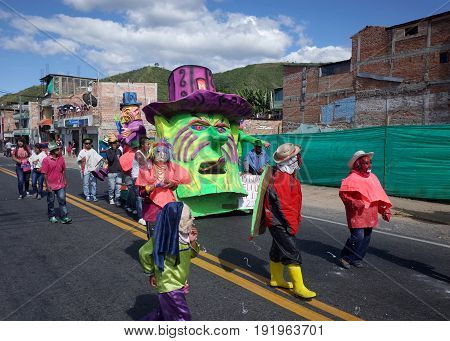5TH JANUARY 2015 CHICHAGUÍ COLOMBIA - colorful floats taking part in the celebrations at the Carnival de Blancos y Negros (Blacks and White Carnival) in Chichaguí near Pasto in Colombia