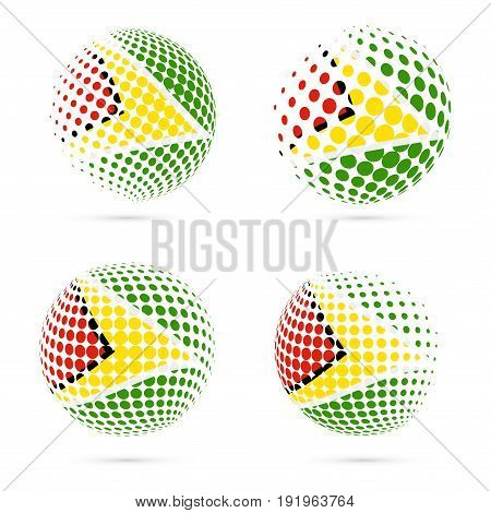 Guyana Halftone Flag Set Patriotic Vector Design. 3D Halftone Sphere In Guyana National Flag Colors
