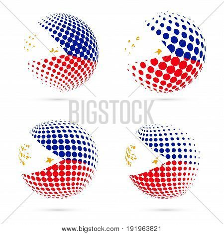 Philippines Halftone Flag Set Patriotic Vector Design. 3D Halftone Sphere In Philippines National Fl