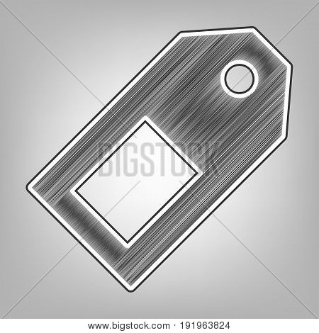 Price tag sign. Vector. Pencil sketch imitation. Dark gray scribble icon with dark gray outer contour at gray background.