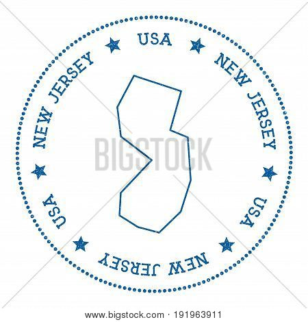 New Jersey Vector Map Sticker. Hipster And Retro Style Badge With New Jersey Map. Minimalistic Insig