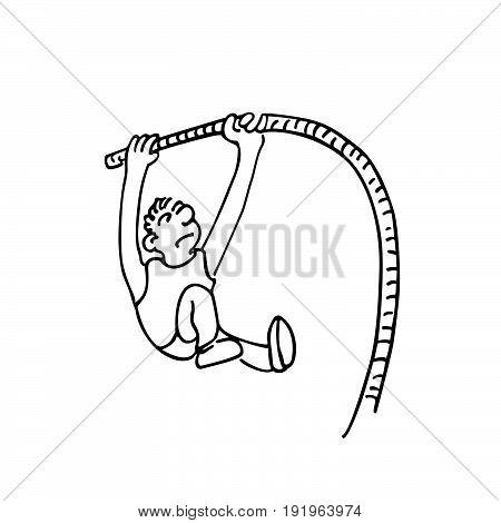 High jump sports. outlined cartoon handrawn sketch illustration vector.