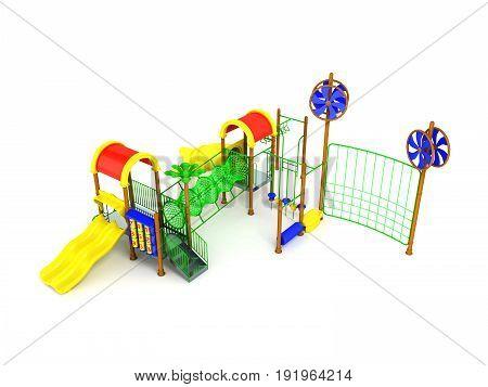 Children's Motley Playground Green 3D Render On A White Background