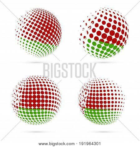 Belarus Halftone Flag Set Patriotic Vector Design. 3D Halftone Sphere In Belarus National Flag Color