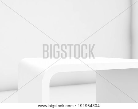 Empty White Exhibition Stand, 3D