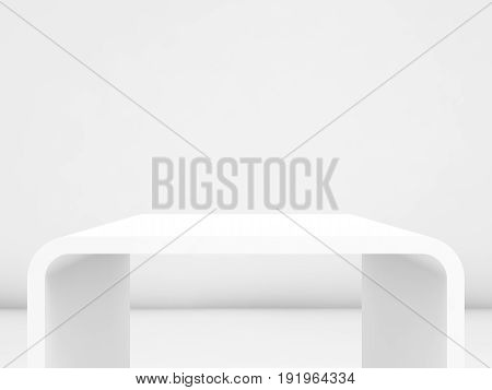 3D  Exhibition Stand In Blank Interior, Front View