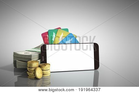 Mobile Banking Concept Mobile Phone With Dollar Stacks Coins And Credit Cards 3D Render On Grey Glas