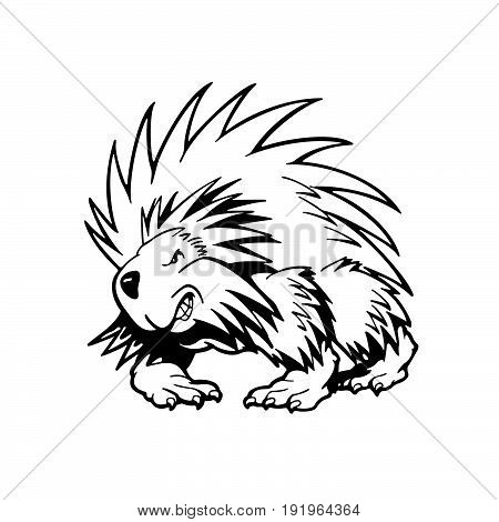 hedgehog . Animal cartoon character . Vector Illustration.