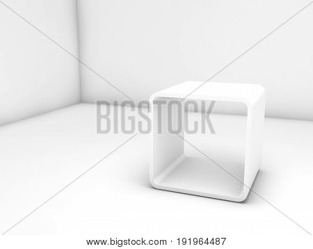 Empty White Exhibition Stand In Clean Room
