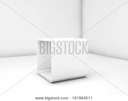 Empty White Exhibition Stand Box In Blank Room