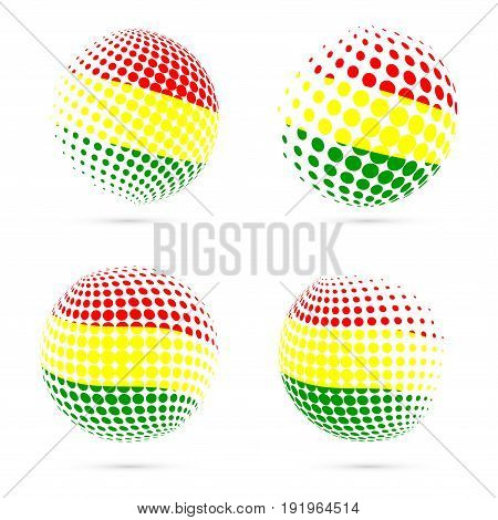 Bolivia Halftone Flag Set Patriotic Vector Design. 3D Halftone Sphere In Bolivia National Flag Color