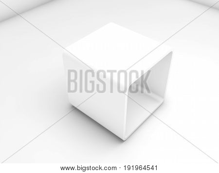 Empty White Exhibition Box In Blank Interior