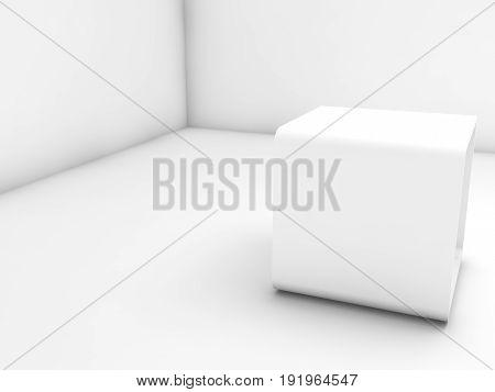 Empty White Exhibition Stand In Blank Corner