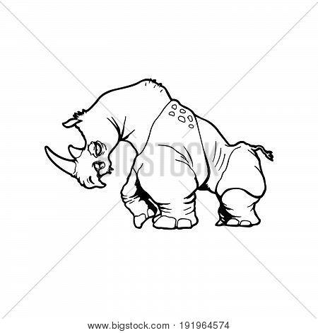 rhinoceros . Animal cartoon character . Vector Illustration.