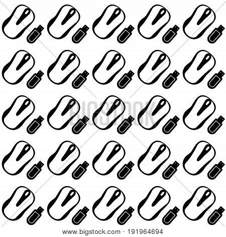 Vector illustration seamless pattern from computer mice and flash drives in minimalistic style at an angle of forty-five degrees on a white background