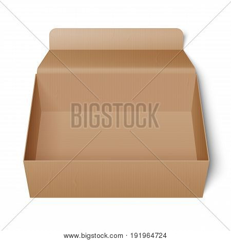 Opened cardboard package box. Product template or mockup on white background