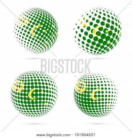 Cocos Islands Halftone Flag Set Patriotic Vector Design. 3D Halftone Sphere In Cocos Islands Nationa