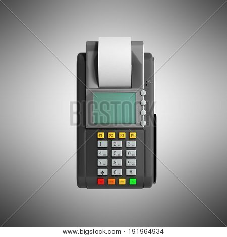 Credit Card Trminal Machine 3D Rendering On Grey