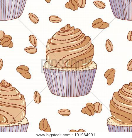 Hand drawn seamless pattern with doodle cupcake and coffee buttercream. Food background. Vector illustration