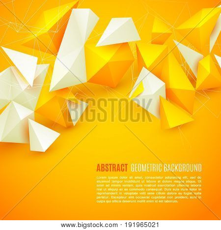 Abstract polygon 3d shapes and mesh grid on bright yellow background
