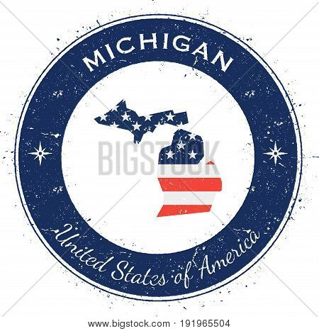 Michigan Circular Patriotic Badge. Grunge Rubber Stamp With Usa State Flag, Map And The Michigan Wri