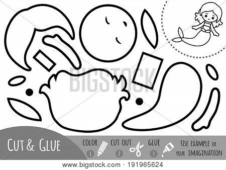Education paper game for children Mermaid. Use scissors and glue to create the image.