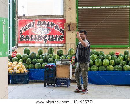Eskisehir, Turkey - June 15, 2017: Traditional Typical Turkish Grocery Bazaar In Eskisehir, Turkey.