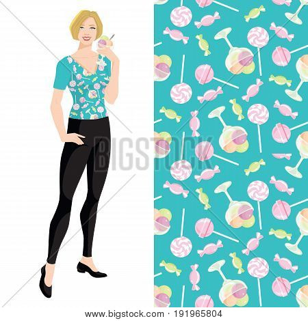 Young blonde woman with bob haircut holding ice cream in her hand. Vector illustration of pattern with deserts on blue background.
